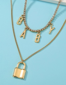 Fashion Gold Color Multi-layer Alloy Necklace With Lock Letter Pendant