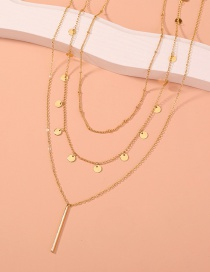 Fashion Gold Color Small Round Piece Tassel Long Strip Pendant Alloy Multilayer Necklace