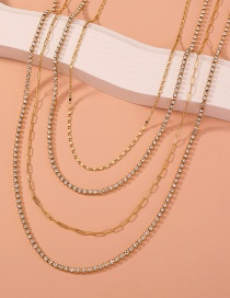Fashion Gold Color Claw Chain Alloy Multilayer Necklace