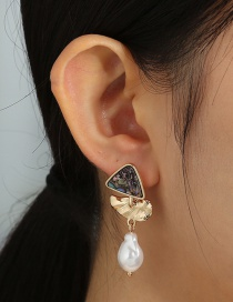Fashion Gold Color Detachable Two Natural Abalone Shell Triangle Long Pearl Earrings