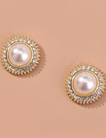 Fashion Gold Color Round Pearl And Diamond Alloy Earrings