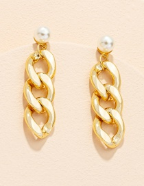 Fashion Gold Color Chain Pearl Alloy Geometric Stud Earrings