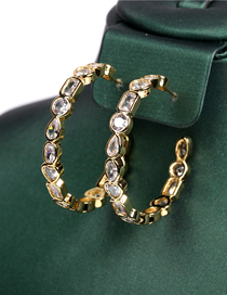 Fashion Golden Micro-set Zircon Gold-plated C-shaped Circle Love Earrings