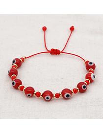 Fashion Red Glass Eye Beads Crystal Beaded Adjustable Bracelet