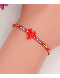 Fashion Red Rice Beads Hand-woven Love Beaded Bracelet