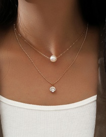 Fashion Golden Double Layered Round Pendant Necklace With Imitation Pearls And Diamonds