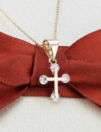 Fashion Gilded Diamond Cross Gold Plated White Copper Pendant Necklace