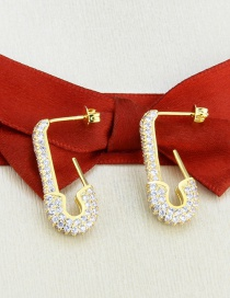 Fashion Gilded Gold-plated Copper Earrings With Diamonds And Imitation Brooches