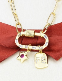 Fashion Gilded Glossy Letter Tag Gold-plated Screw Clasp Star Pendant Necklace