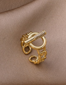 Fashion Gold Color Chain Ot Buckle Copper Gold Plated Open Ring