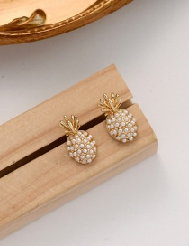 Fashion Gold Color Pearl Pineapple Alloy Earrings