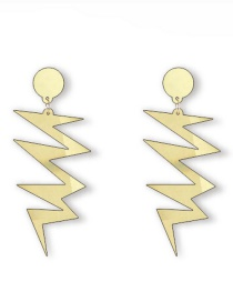 Fashion Gold Color Mirror Lightning Acrylic Stud Earrings