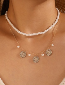 Fashion White Rice Beads One Word Buckle Disc Multilayer Necklace