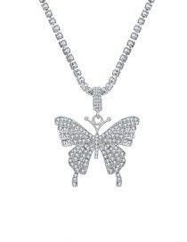 Fashion Silver Color Diamond Large Butterfly Alloy Necklace