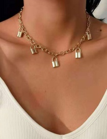Fashion Gold Color Alloy Lock Pendant Necklace