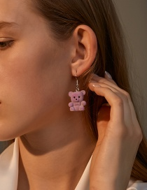 Fashion Purple Flocking Bear Resin Earrings