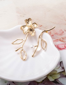 Fashion Gold Color Asymmetric Flower Pearl Earrings