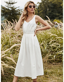 Fashion White Solid Color Stitching Strap Dress