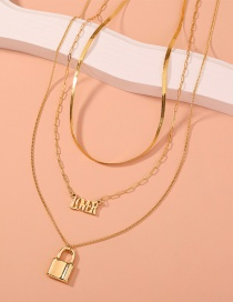 Fashion Gold Color Geometric Lock Letter Alloy Multilayer Necklace