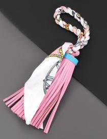 Fashion Pink Printed Silk Fabric Artificial Leather Tassel Keychain Pendant