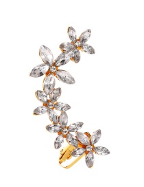 Fashion Kc Golden Flower Geometric Single Ear Clip With Diamonds And Butterflies
