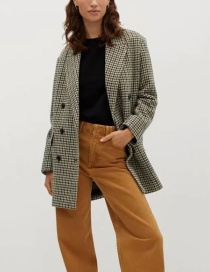 Fashion Light Brown Double Breasted Woolen Suit Coat