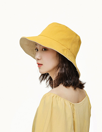 Fashion Yellow Double-sided Solid Color Cotton Sunshade Fisherman Hat