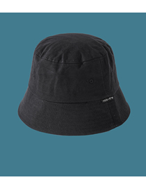 Fashion Black Solid Color Cloth Label Flat Top Shade Fisherman Hat