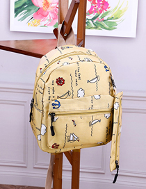 Fashion Yellow Printed Canvas Backpack