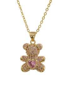 Fashion Pink Copper Inlaid Zircon Bear Necklace