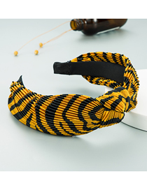 Fashion Black And Yellow Color-blocking Texture Fabric Knotted In The Middle And Wide-sided Headband