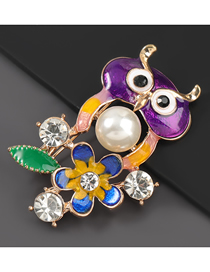 Fashion Owl Alloy Oil Drop Diamond Owl Brooch