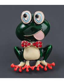 Fashion Frog Alloy Oil Drop Diamond Frog Brooch