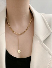 Fashion Golden Titanium Steel Chain Splicing Disc Necklace