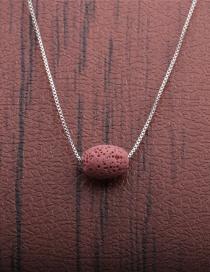 Fashion 1 Pink Volcano Volcanic Oval Thin Chain Necklace