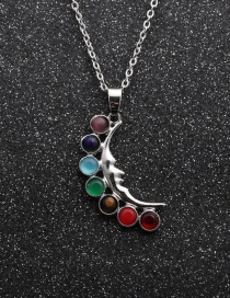 Fashion Moon Chakra Pendant+o Chain Seven Chakras Contrasting Color Geometric Yoga Pendant Necklace