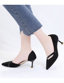 Fashion Black Pointed Toe Covered Hollow Suede Non-slip Shoes