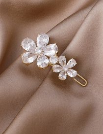 Fashion Golden Flower Micro-inlaid Zircon Copper-plated Blonde Clip
