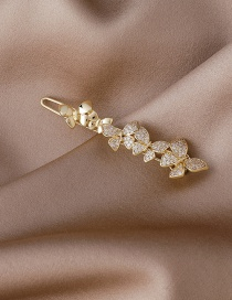 Fashion Golden Micro-inlaid Zircon Butterfly Copper-plated Blonde Clip