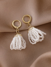 Fashion White Pearl Tassel Gold-plated Copper Earrings