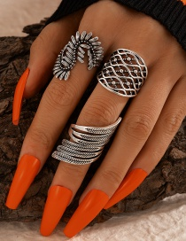 Fashion Silver Feather S-shaped Hollow Ring Set