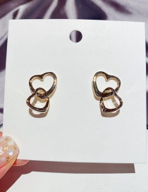 Fashion Real Gold Plated Glossy Metal Double Heart-shaped Real Gold-plated Earrings