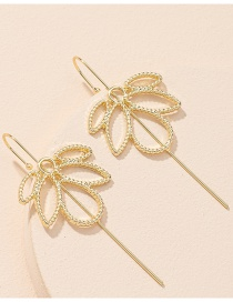 Fashion Golden One Word Maple Leaf Alloy Hollow Piercing Ear Bone Clip