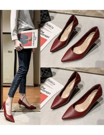 Fashion Red Pointed Soft Leather High Heels