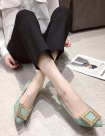 Fashion Green Pointed Non-slip Low Heel Hollow Metal Buckle Shoes