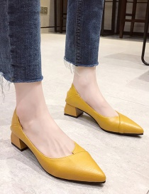 Fashion Yellow Pointed Thick Heel Shallow Non-slip Hollow Shoes
