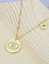 Fashion Gilded Large And Small Eyes Glossy Round Plate Diamond-plated Gold-plated Copper Pendant Necklace