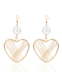 Fashion Heart-shaped Heart Alloy Hollow Winding Earrings