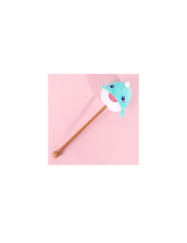 Fashion Green Narwhal Plush Neck Shoulder Meridian Leg Hand-held Back Beating Massage Hammer