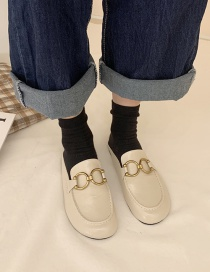 Fashion Off-white Flat Bottom Toe Cap Metal Buckle Half Slippers